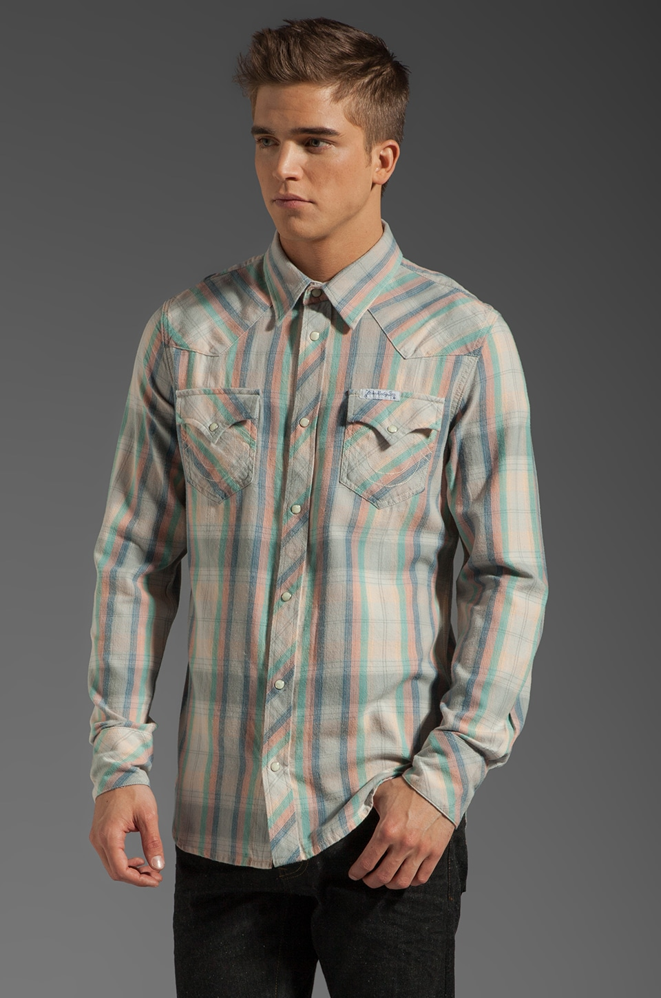 True Religion Light Plaid Flannel in Reef