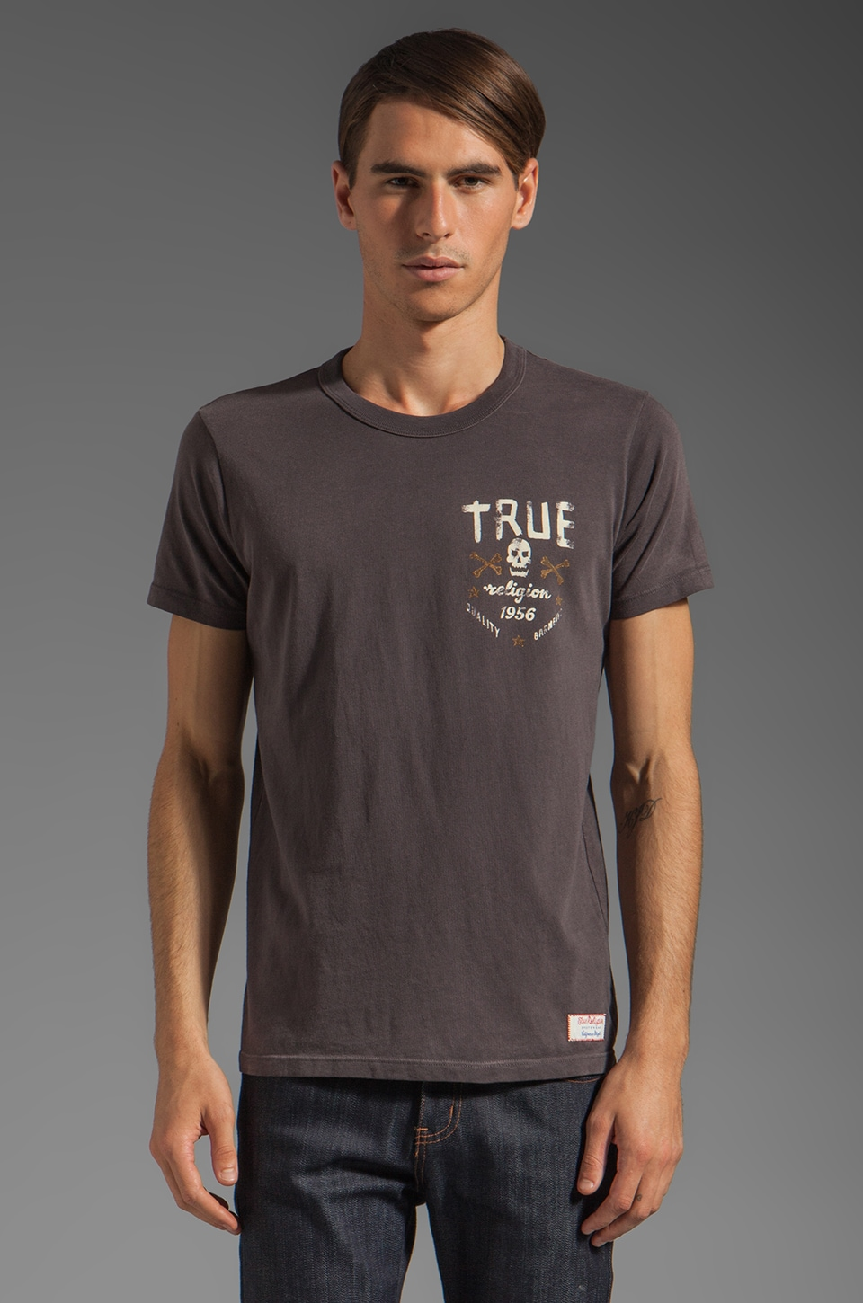 True Religion Skull and Bones Tee in Charcoal