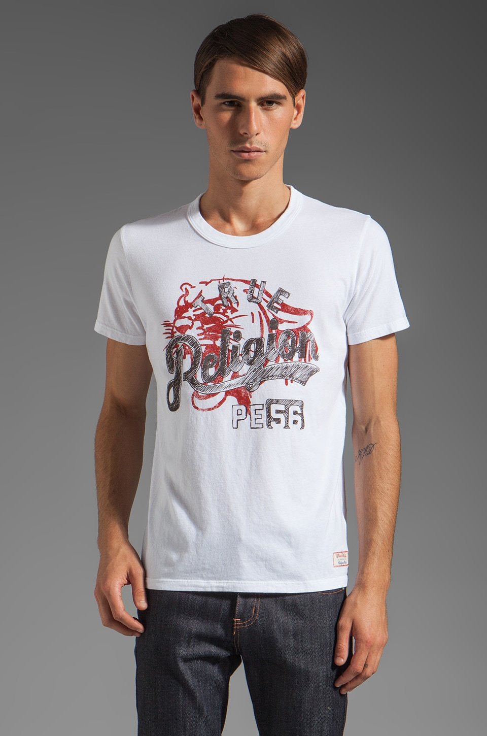 True Religion Panther Tee in White