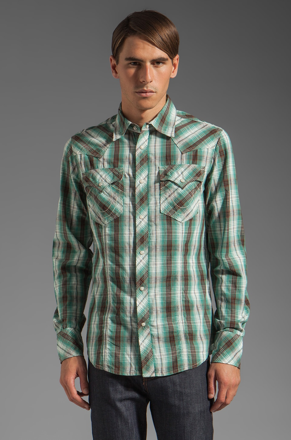 True Religion Plaid Poplin Rocky Western Shirt in Turquoise