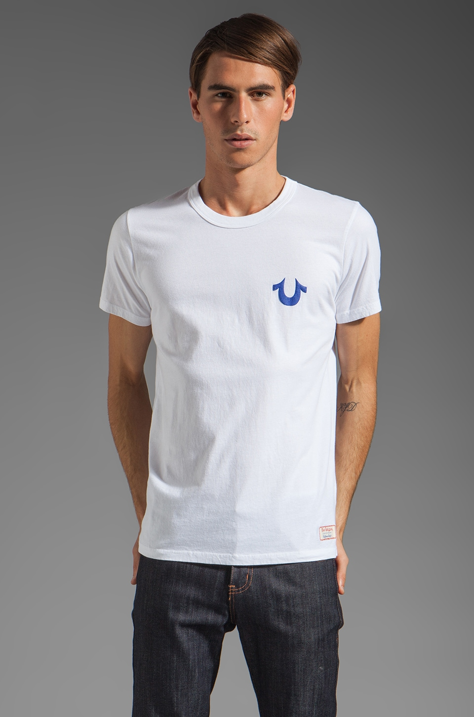 True Religion Puff Tee in White/Royal Blue