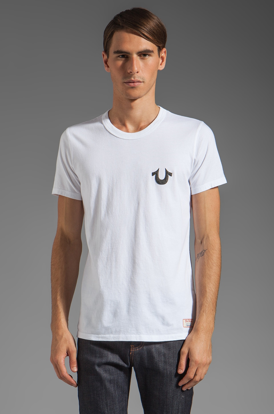 True Religion Puff Tee in White/Black