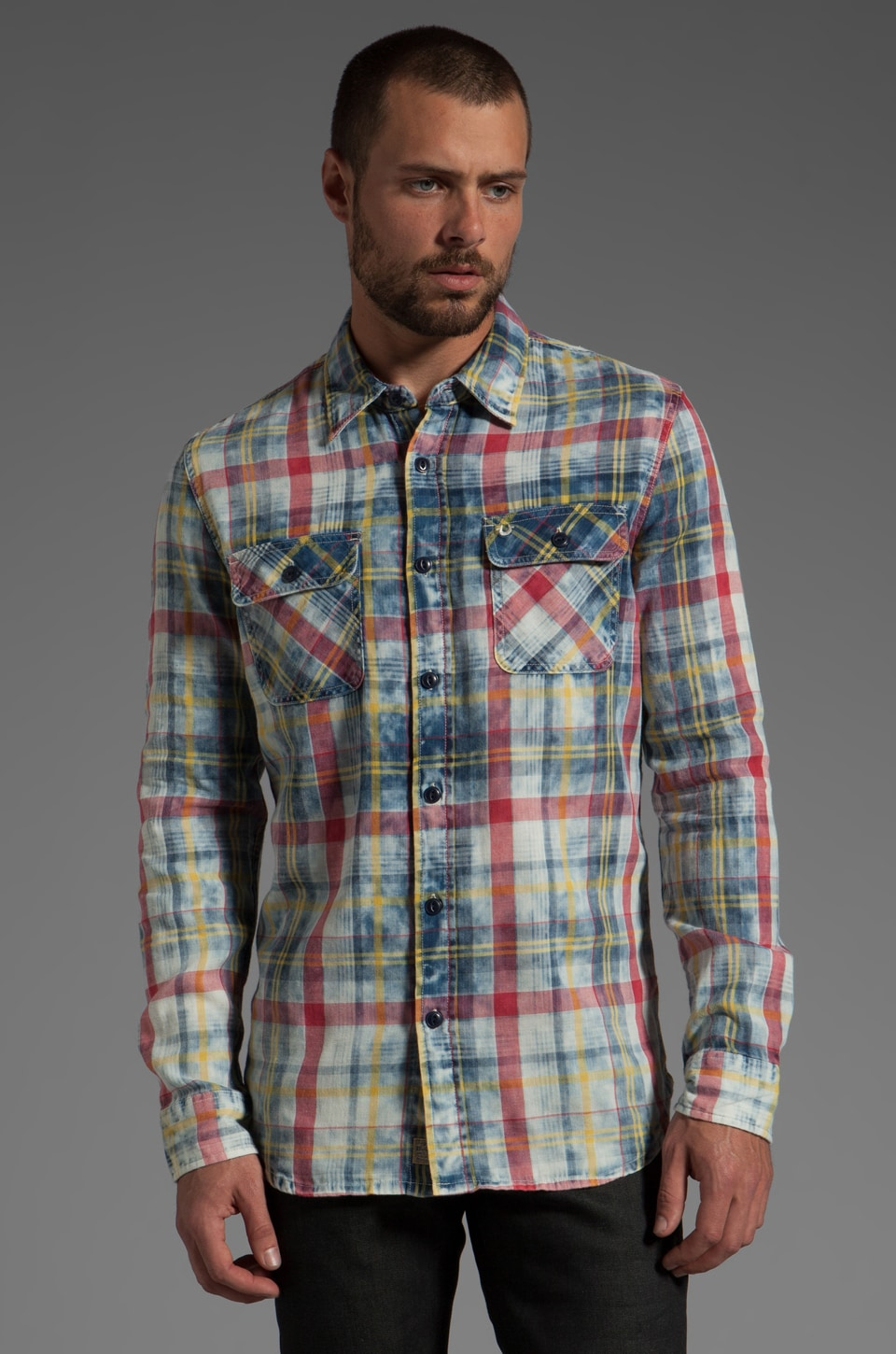 True Religion Indigo Plaid Button Up in Sunbeam