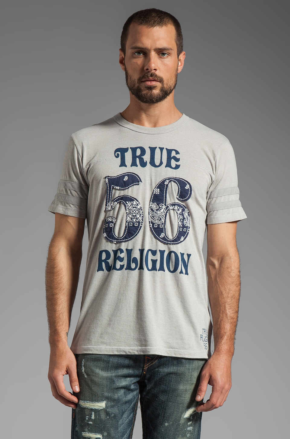 True Religion Bandana 56 Graphic Tee in Heather Grey