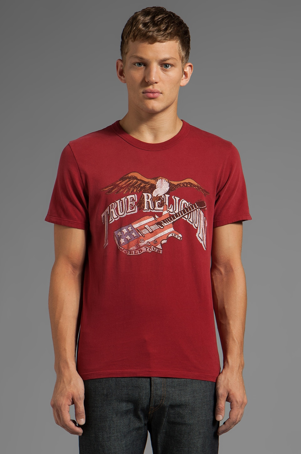True Religion Eagel Guitar Tee in Crimson
