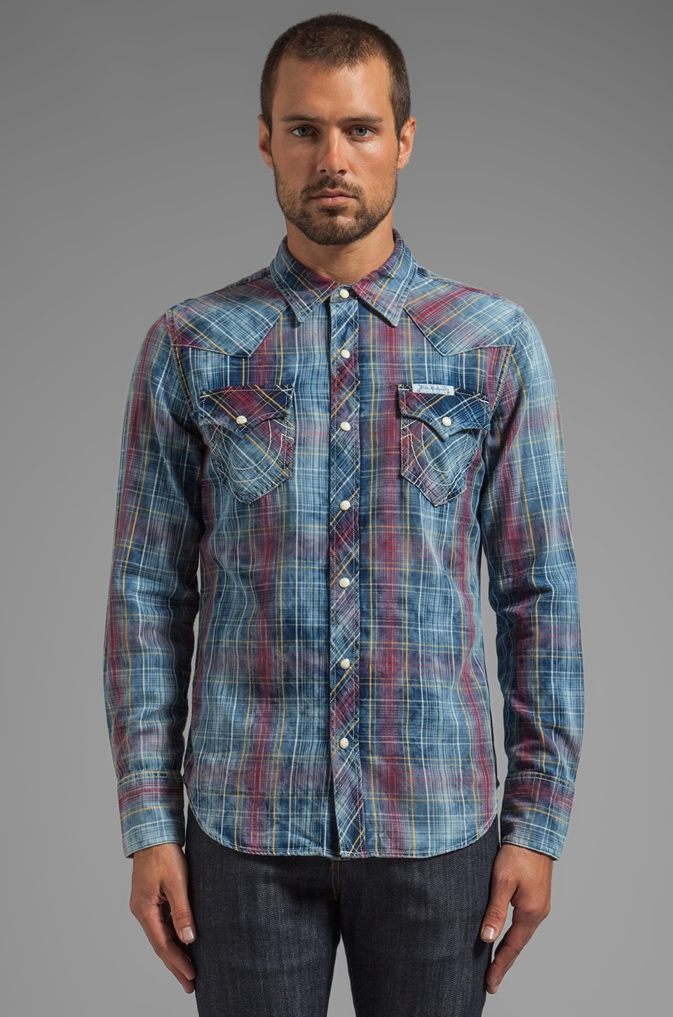 True Religion L/S Western Plaid Shirt in Bristol