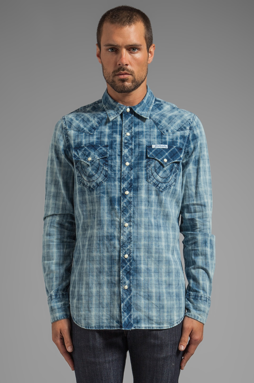 True Religion L/S Western Plaid Shirt in Steel Blue