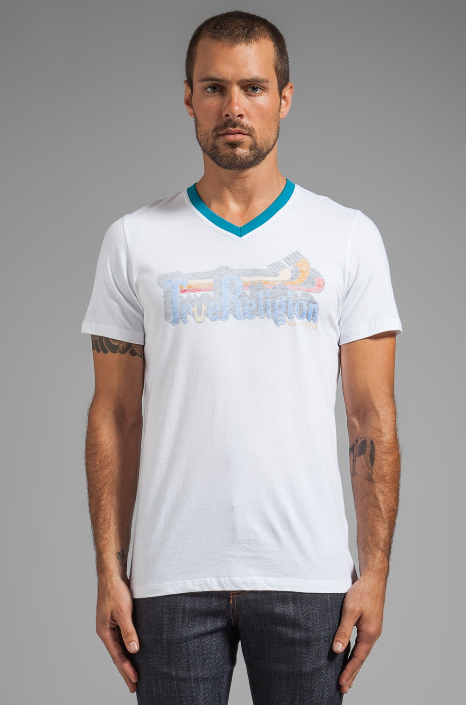 True Religion Yosemite Tee in White/ Dark Teal