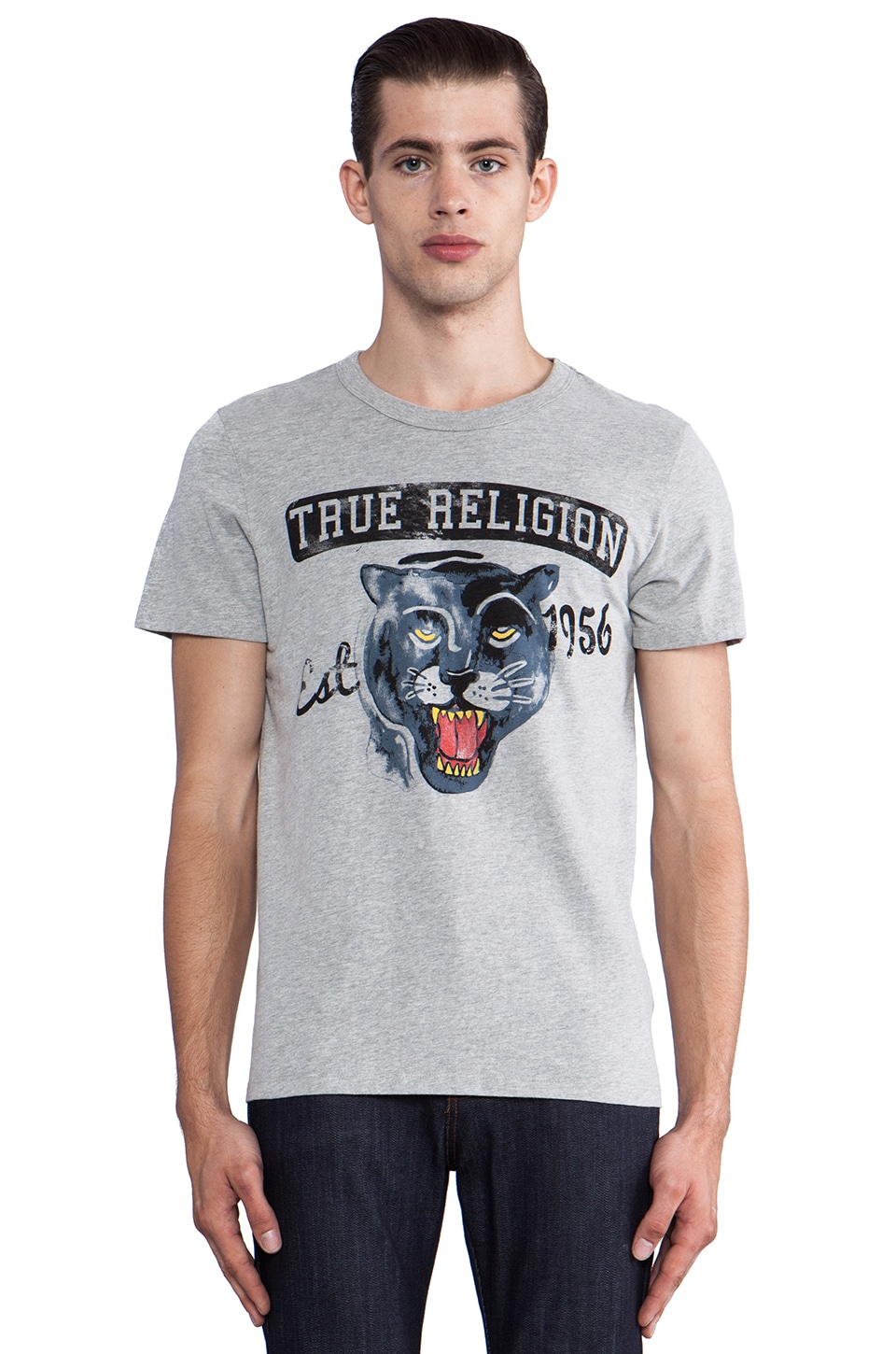 True Religion Panther Graphic Tee in Heather Grey