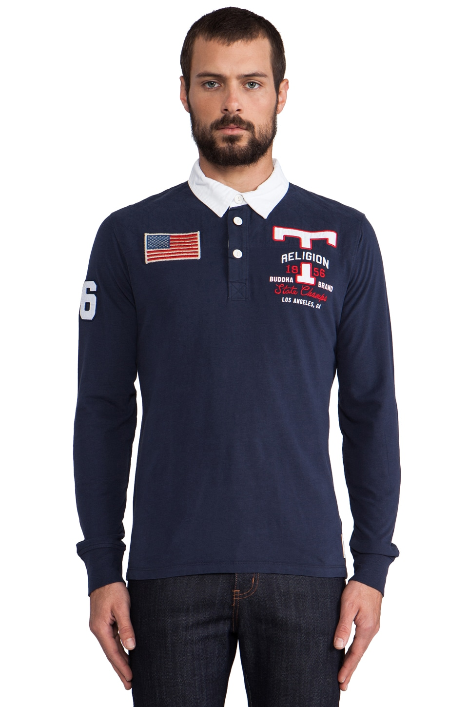 True Religion American Rugby Polo in Dark Navy