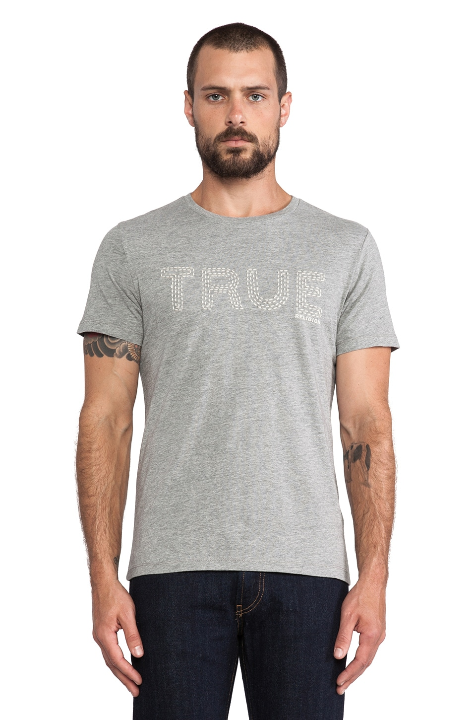 True Religion True Stitched Tee in Heather Grey