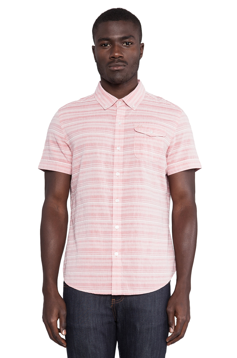 True Religion Single Pocket Shirt in Washed Red