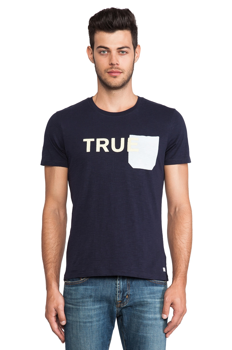 True Religion Printed Pocket Tee in Dark Navy