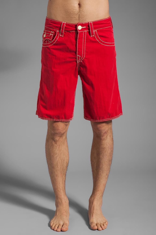True Religion 5 Pocket Big T Boardshort in Red