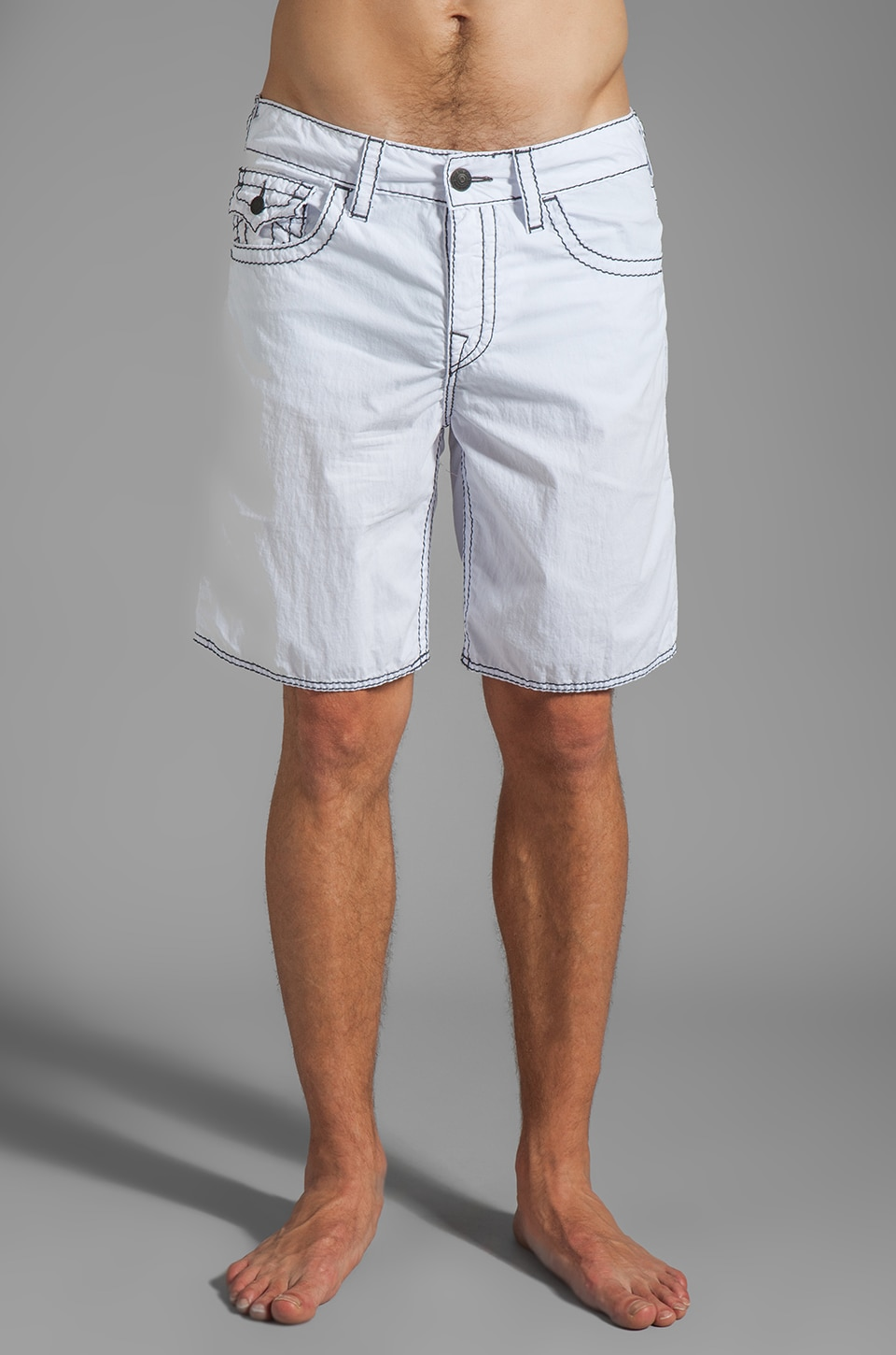 True Religion 5 Pocket Big T Boardshort in White