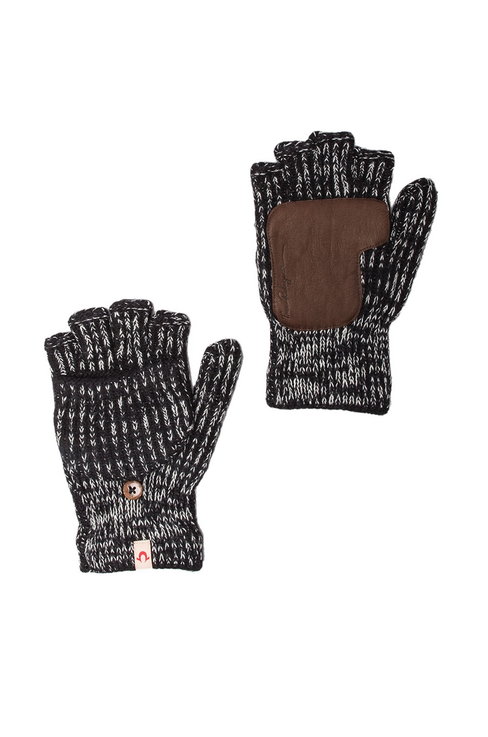 True Religion Two-Tone Convertible Gloves in Black