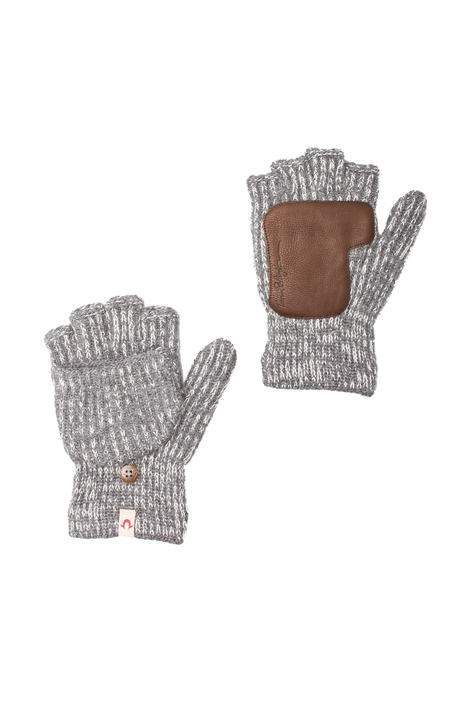 True Religion Two-Tone Convertible Gloves in Grey Heather