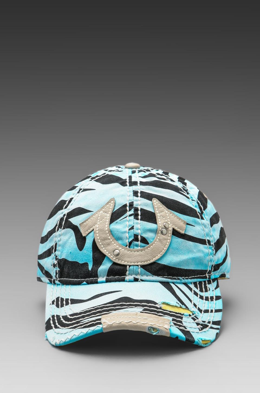 True Religion Zebra Cap in Turquoise
