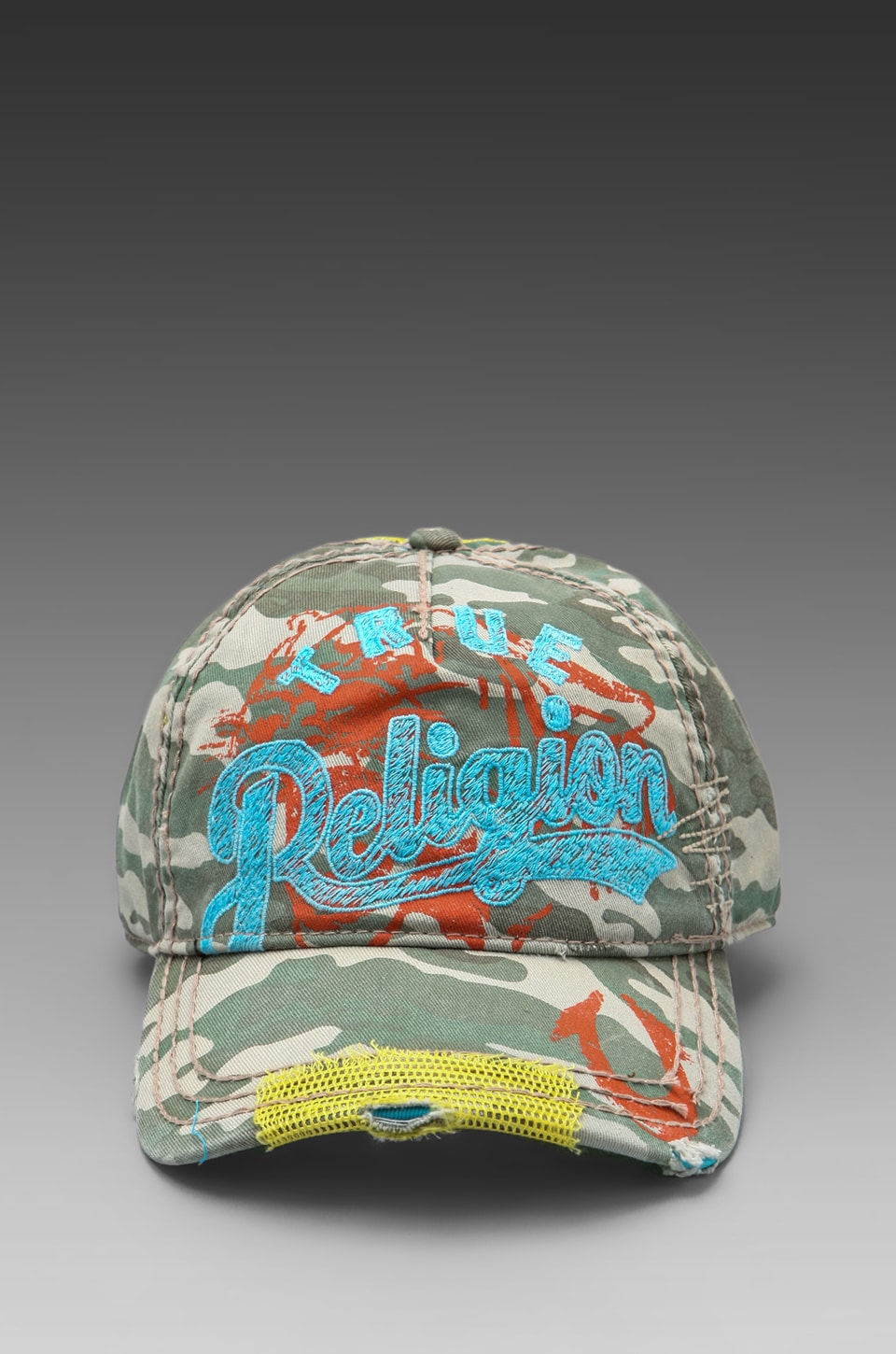 True Religion Camo Baseball Cap in Sea Grass