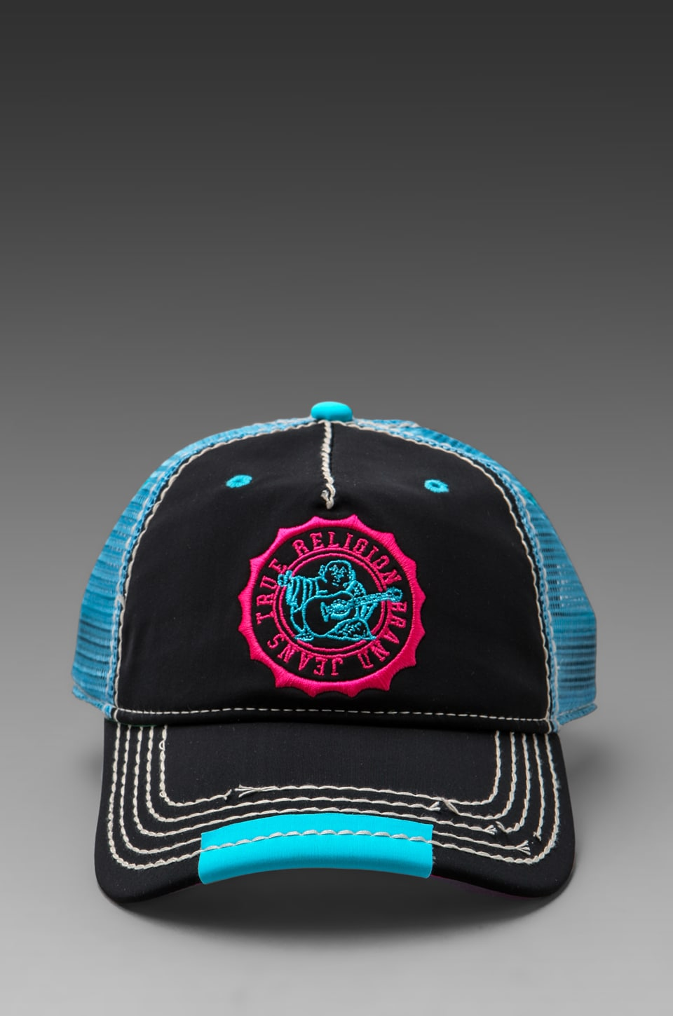 True Religion Neon Baseball Cap in Black