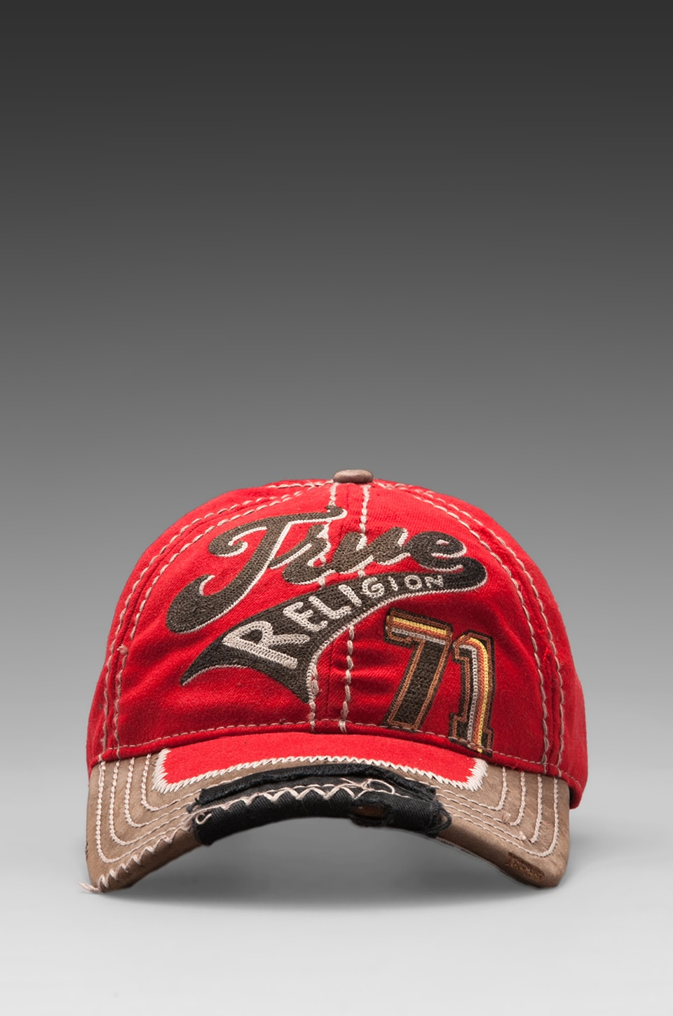 True Religion Graphic 71 Baseball Cap in True Red
