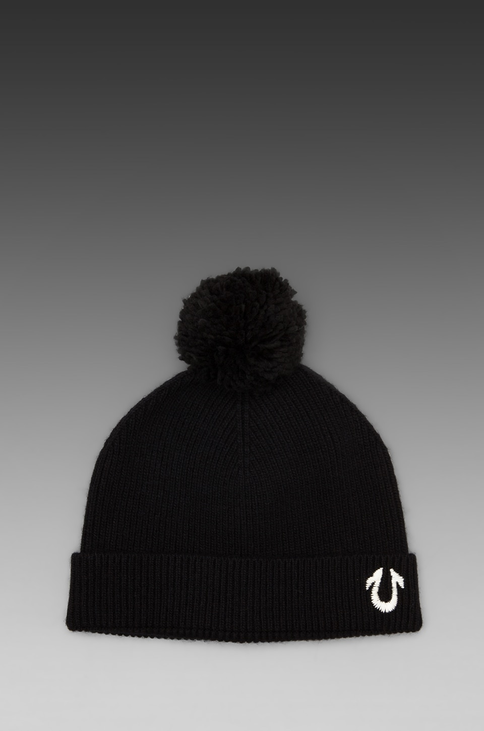 True Religion Knit Watchcap with Pom in Black