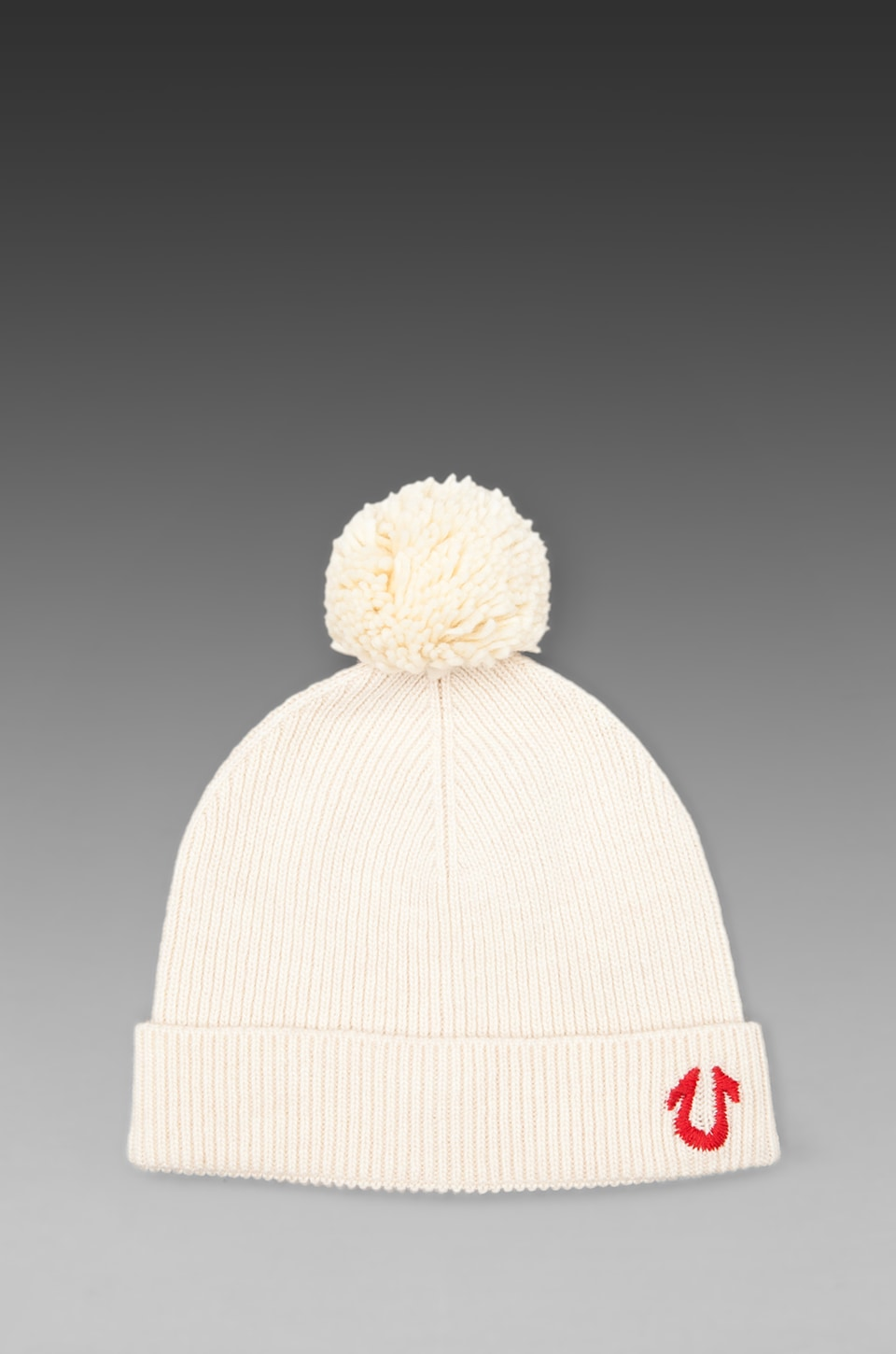 True Religion Knit Watchcap with Pom in Off-White