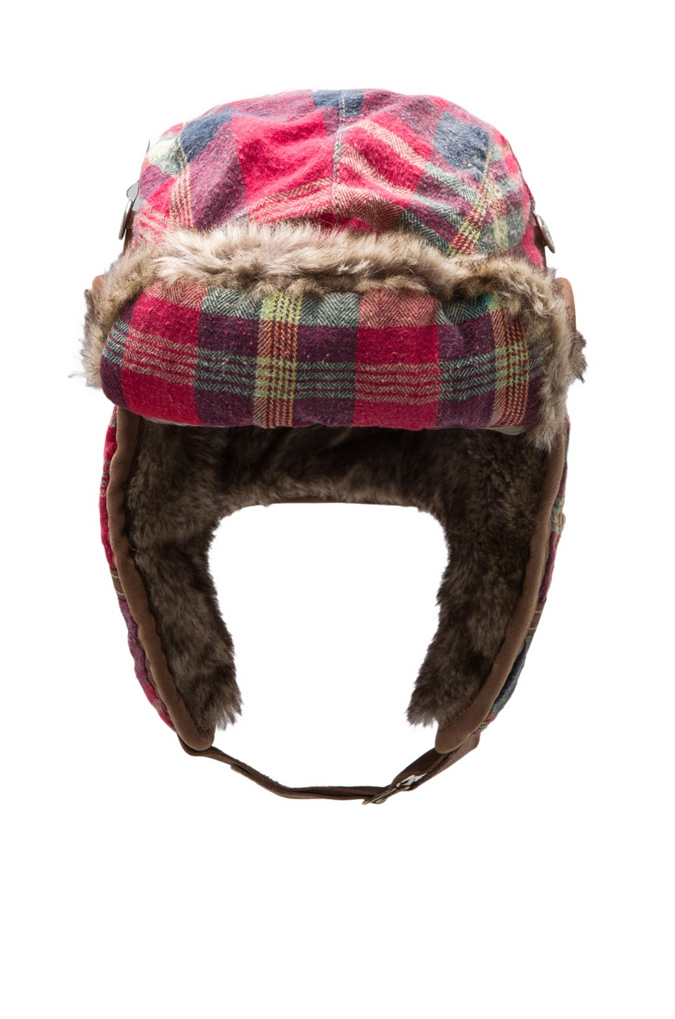 True Religion Plaid Flannel Trapper Faux Fur Hat in Red