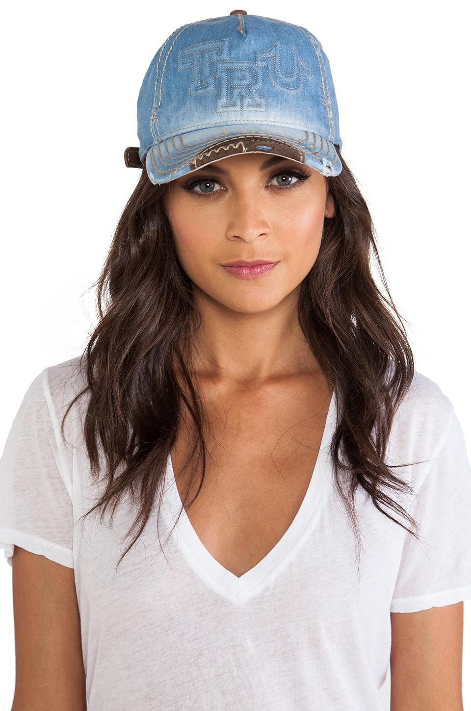 True Religion Raised Logo Cap in Light Blue Denim