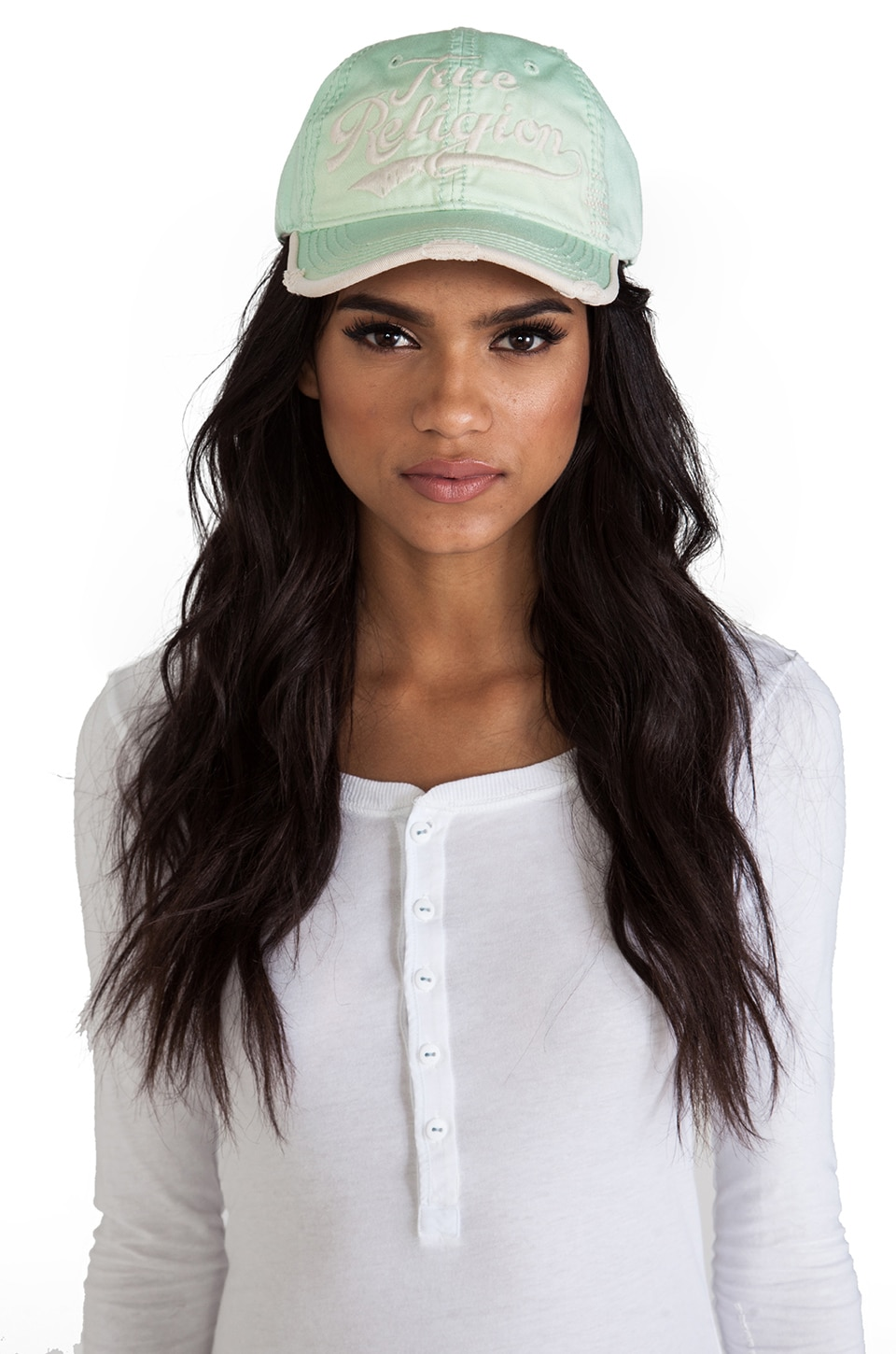 True Religion True Baseball Cap in Subtle Green