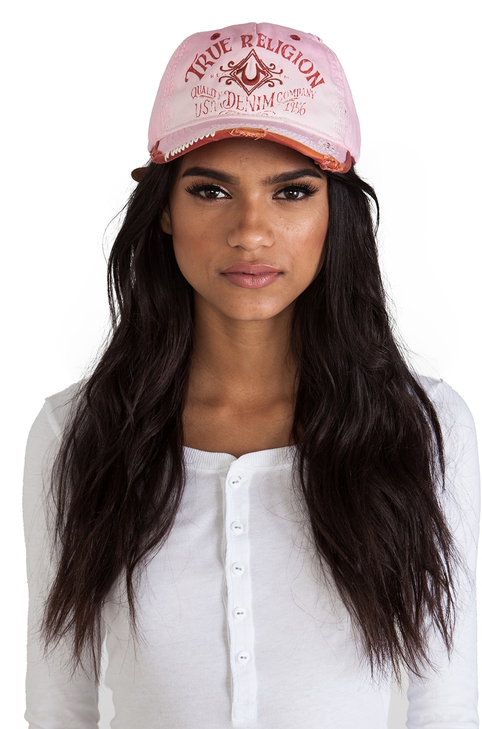 True Religion Vintage Logo Baseball Cap in Faded Strawberry Cream