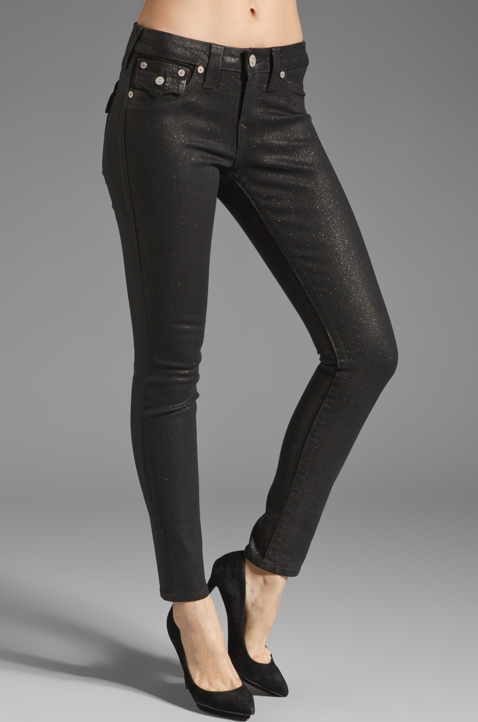True Religion Serena Glitter Coated Skinny in Black