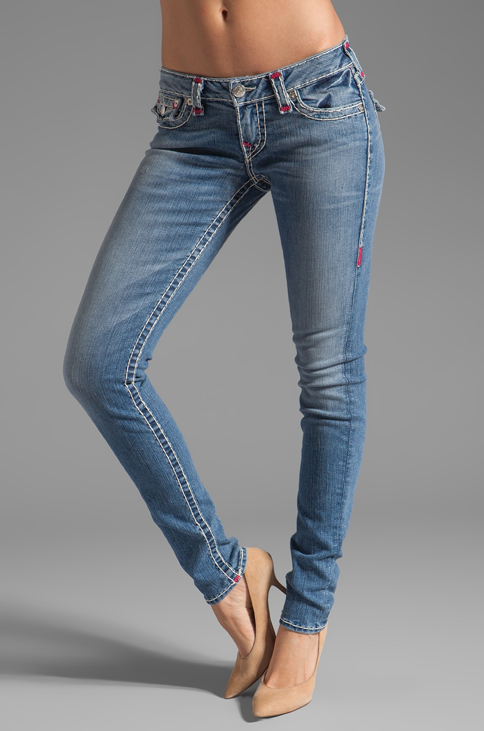 True Religion Julie Super T Bright Skinny in Med Drifter/Fuchsia