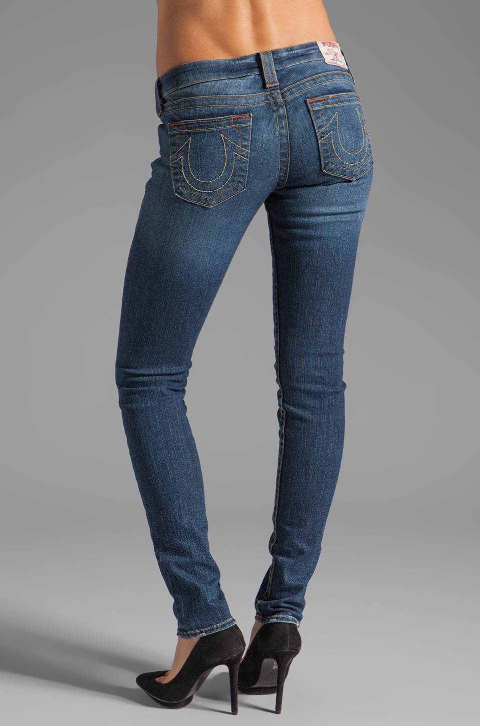 True Religion Stella Lower Rise Skinny in Whiskey Blue