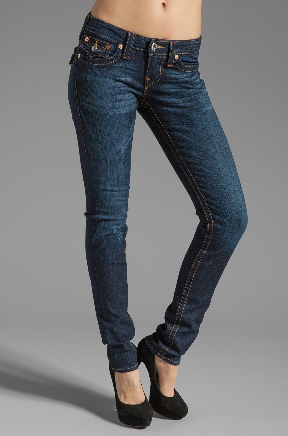 True Religion Julie Lower Rise Skinny in Dark Pony Express