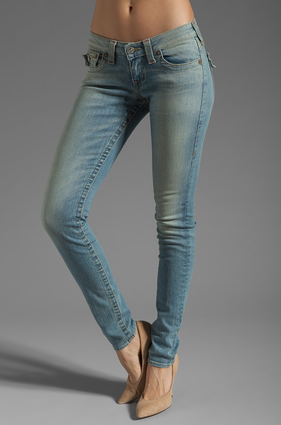 True Religion Julie Lower Rise Skinny in Sunset Pass