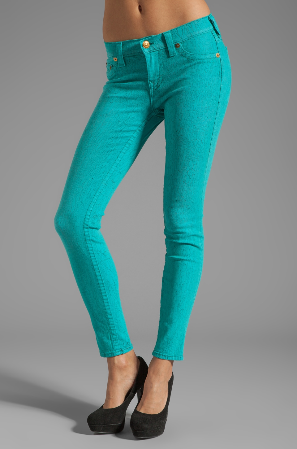 True Religion Halle Crinkle Print Skinny in Turquoise