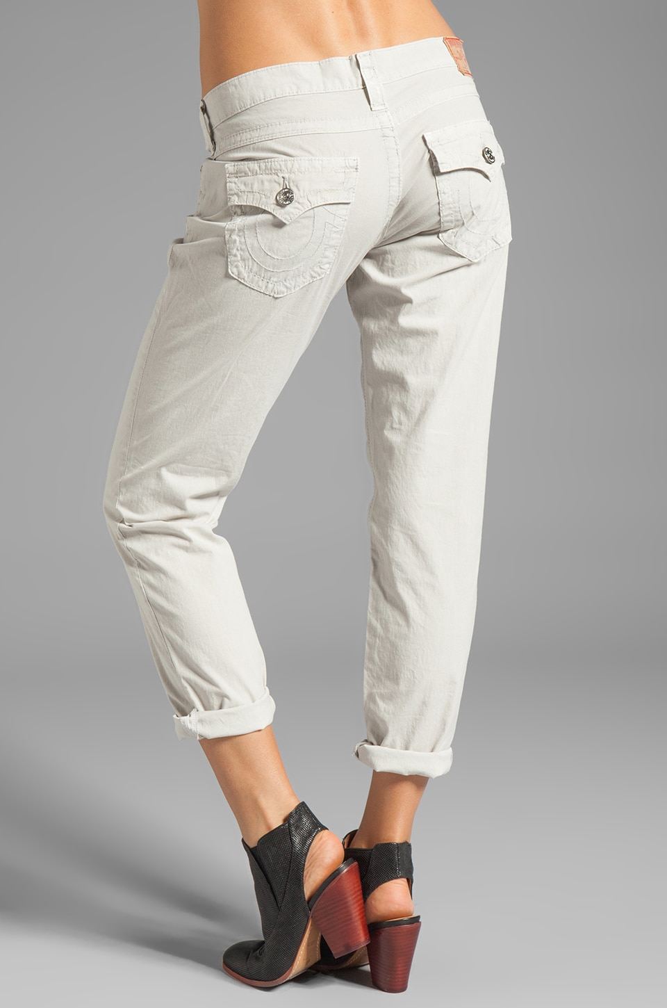 True Religion Overdye Cameron Boyfriend Jeans in Stone Grey