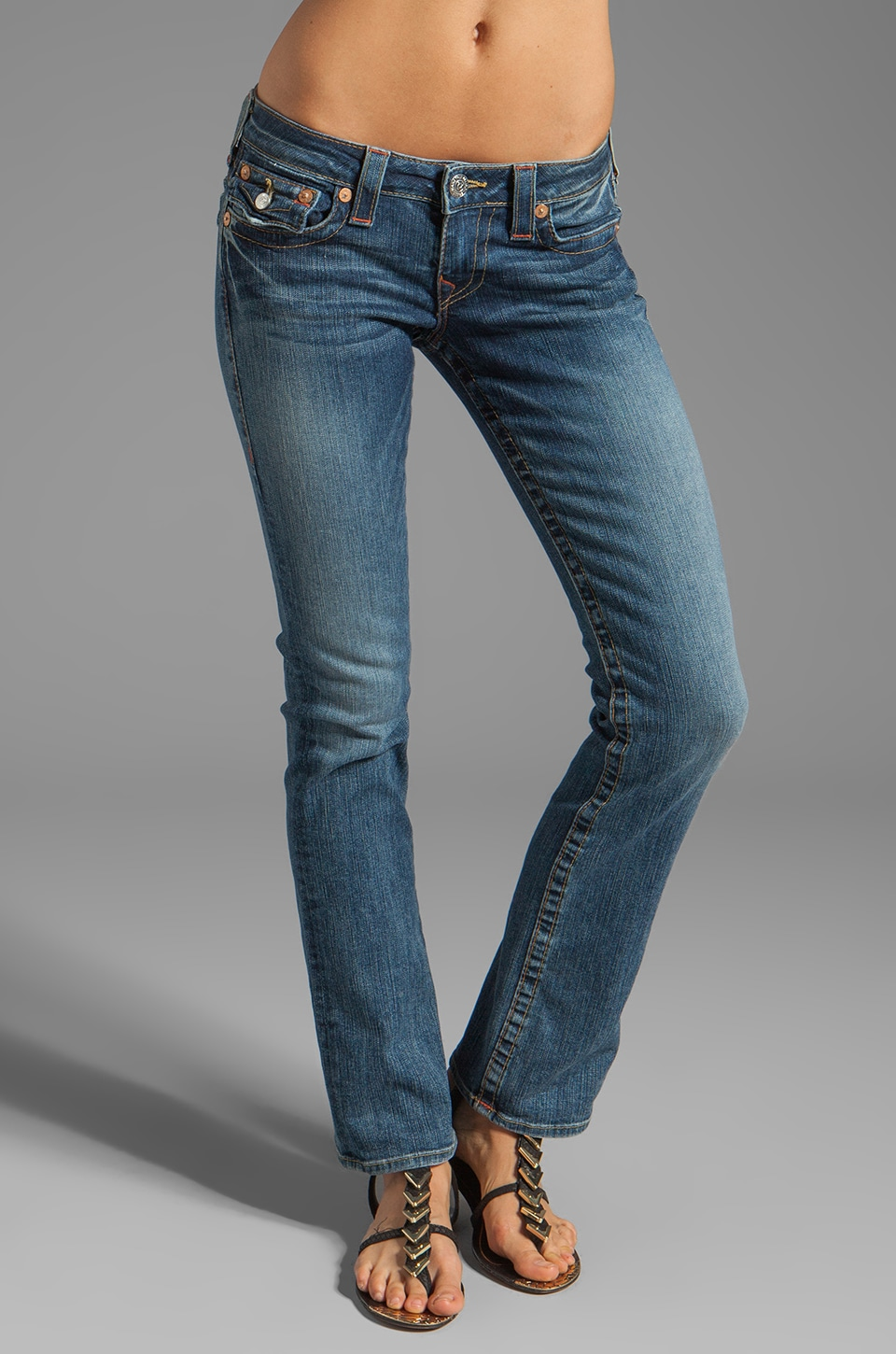 True Religion Billy Petite Straight Leg in Whiskey Blues