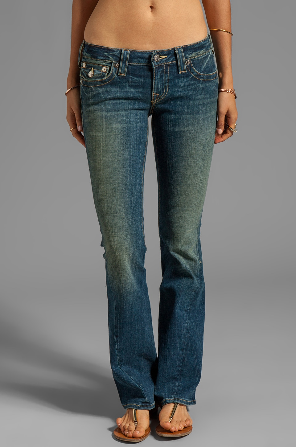 True Religion Joey Low Rise Twisted Seam Flare in Blue Storm