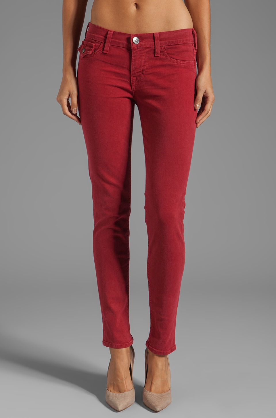 True Religion Serena High Rise Super Skinny in Crimson