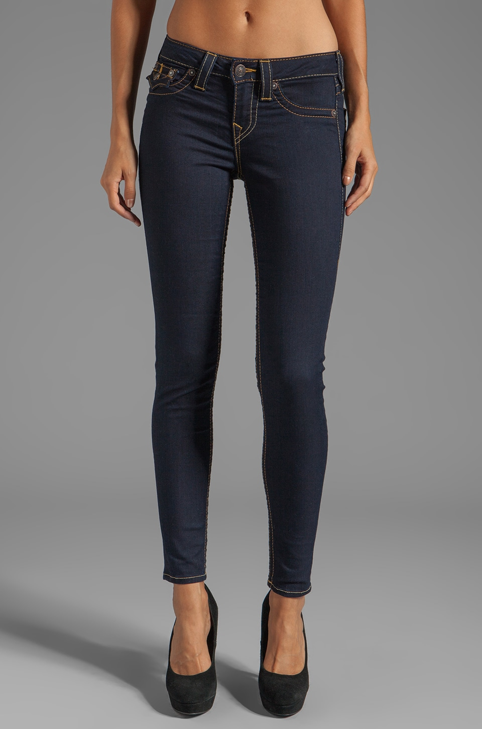 True Religion Serena High Rise Super Skinny in Iron Black