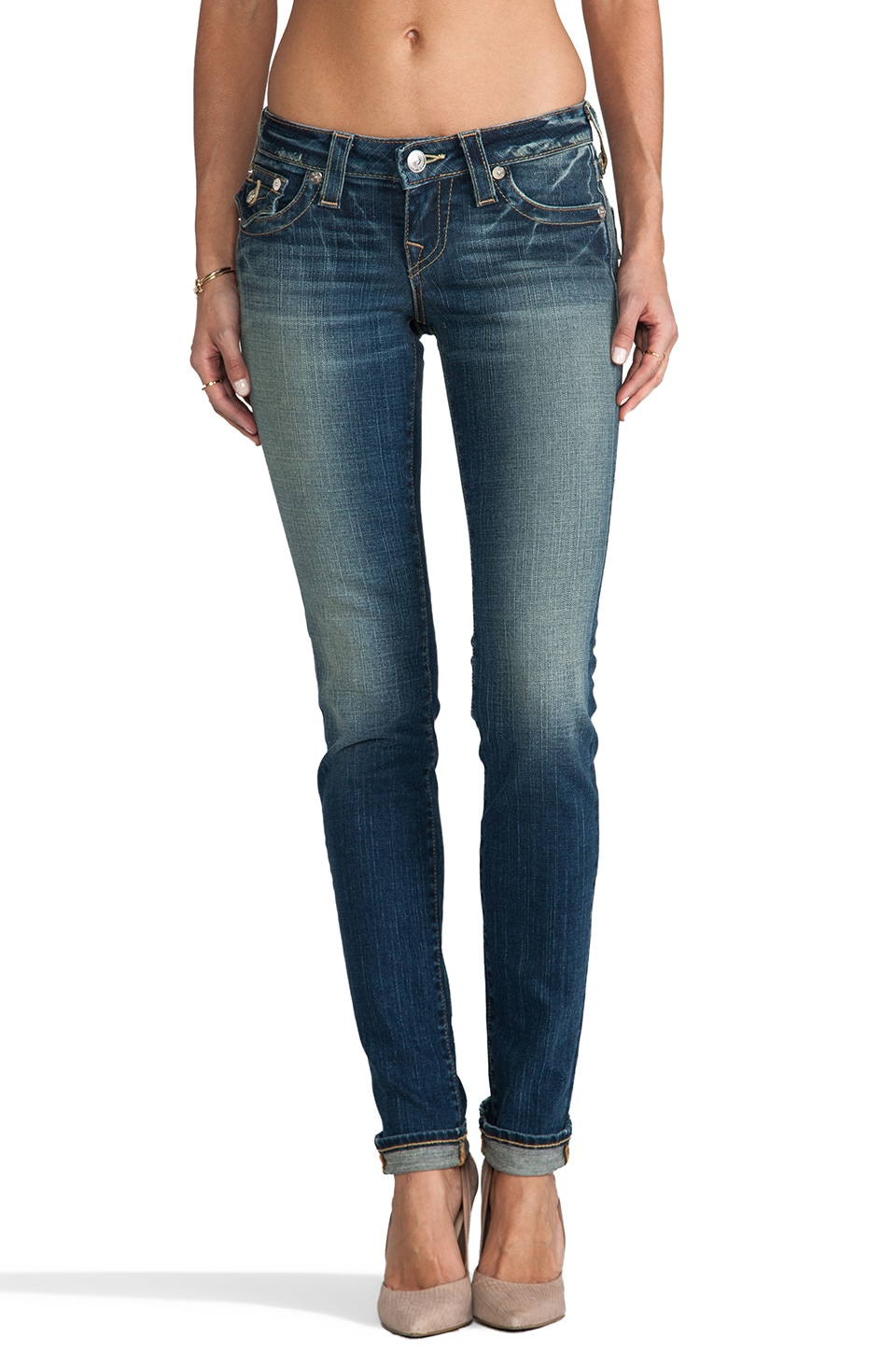 True Religion Julie Low Rise Skinny in Blue Storm