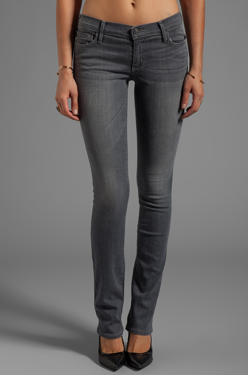 True Religion Cora Mid Rise Skinny in Grey
