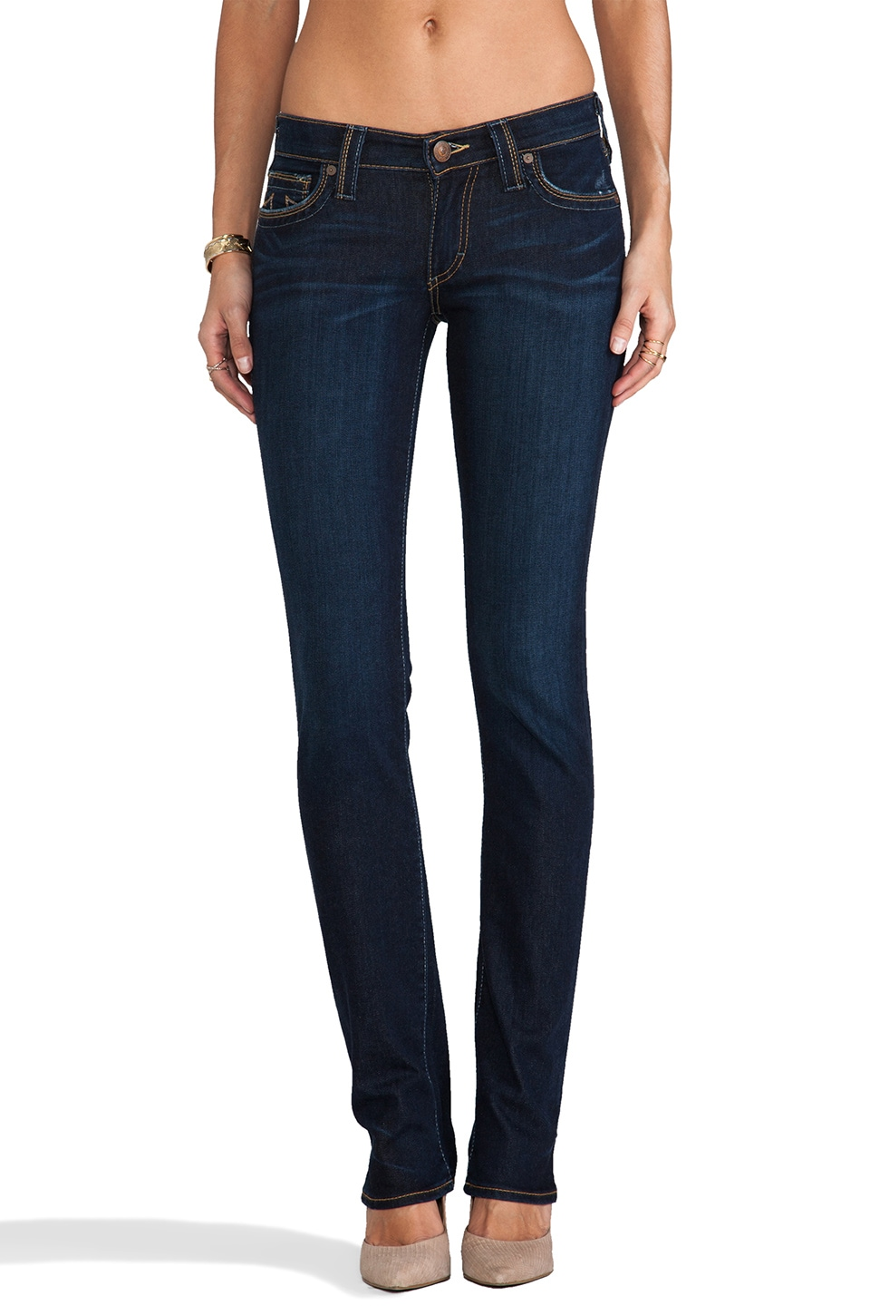 True Religion Cora Mid Rise Skinny in Blue Crow