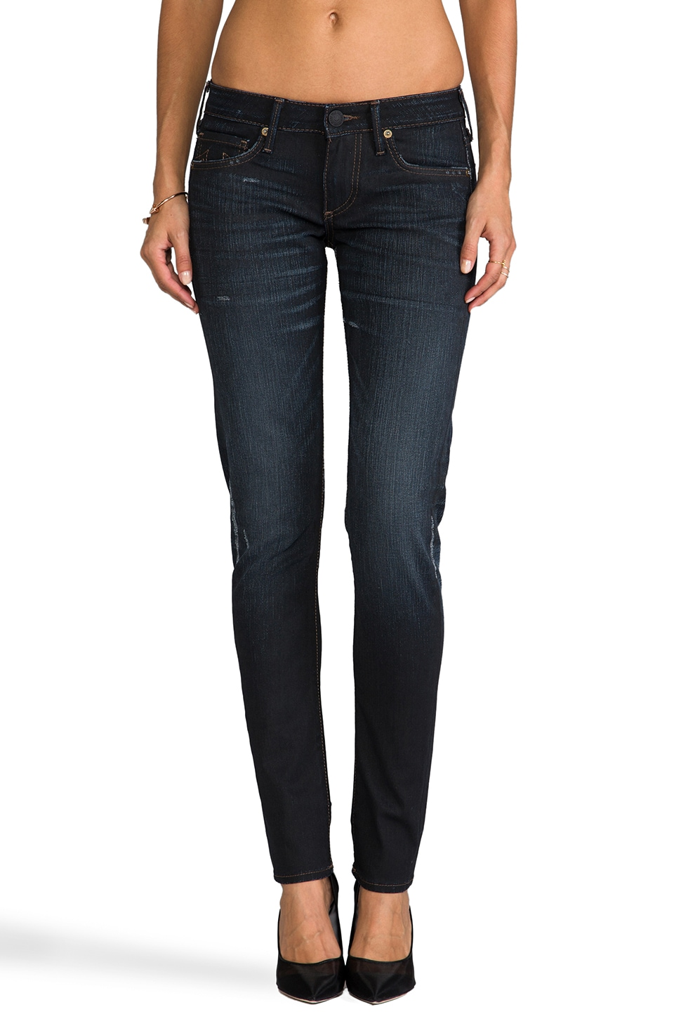 True Religion Jude Super Low Rise Skinny in Asphalt w/ Rips
