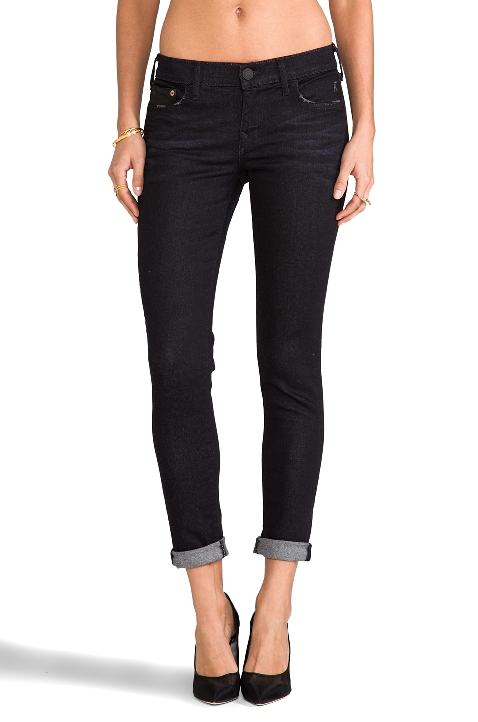 True Religion Casey Mid Rise Skinny in Black Smoke Vintage