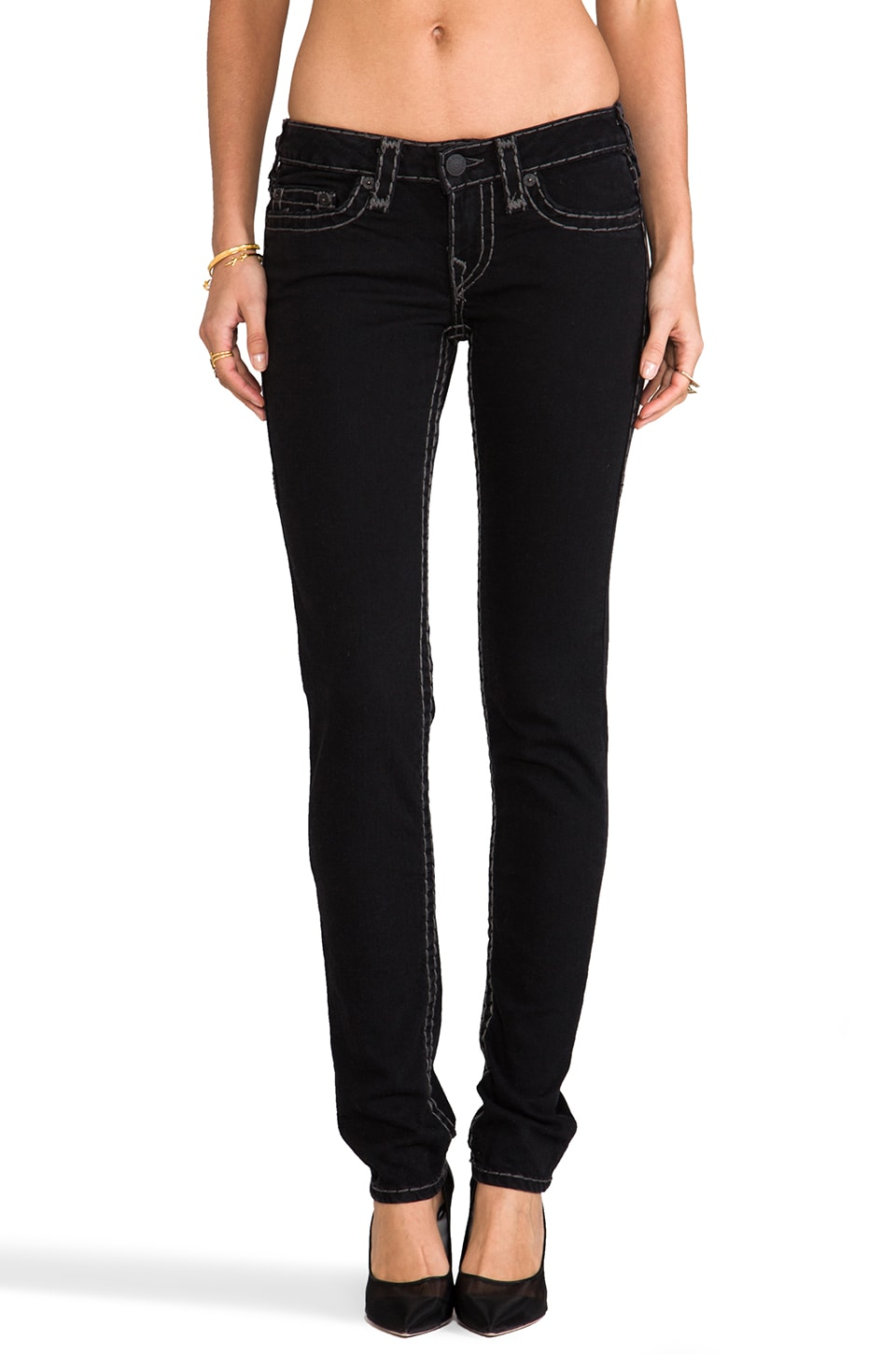 True Religion Stella Super T Low Rise Skinny in Onyx