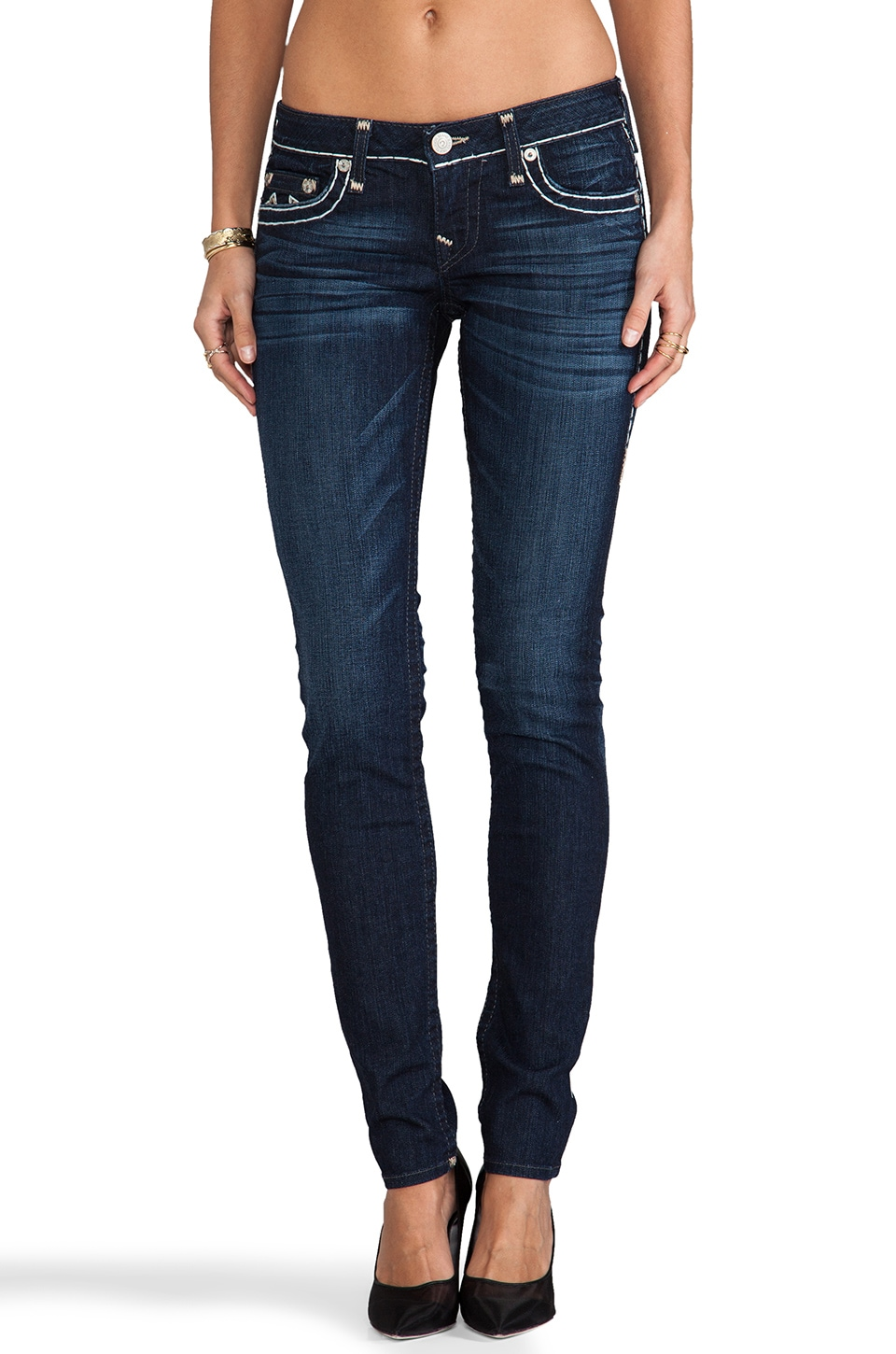 True Religion Stella Super T Low Rise Skinny in Deep Water