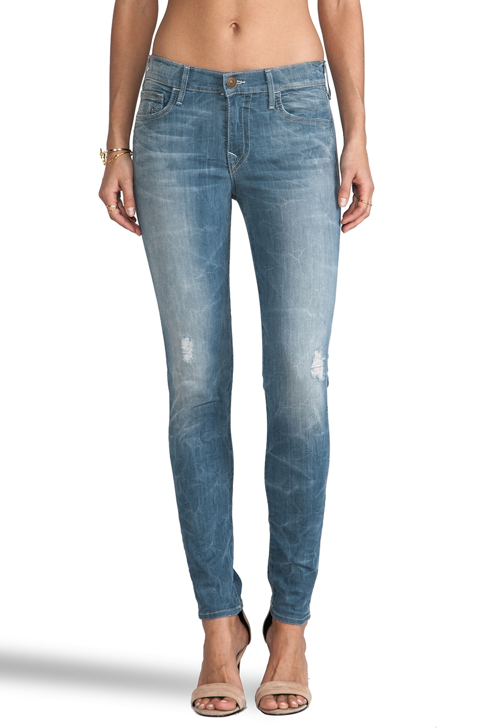 True Religion Abbey Mid Rise Super Skinny in Mystic Water